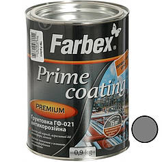 Грунтовка ГФ-021 антикорозійна Сіра ТМ Farbex 0,9кг