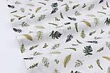 """Сатин ткань """"Маленькая зелёная папороть"""" на белом, №2770с, фото 3"""