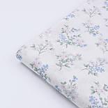 """Сатин ткань """"Веточки с белыми и голубыми цветочками"""" на белом, №2771с, фото 4"""