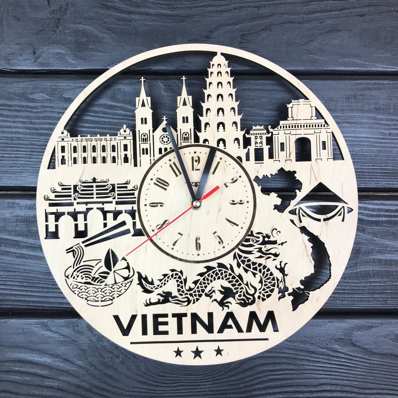 Дизайнерские деревянные часы на стену «Вьетнам»