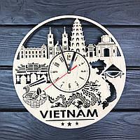 Дизайнерские деревянные часы на стену «Вьетнам», фото 1