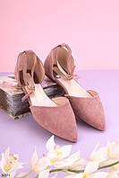 Босоножки женские розовые / пудровые закрытые эко замш, фото 1