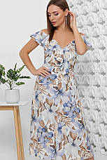Платье летнее длинное с цветами на бретелях с поясом. Размеры 42-50. Платье летнее синее супер софт, фото 3