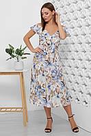 Платье летнее длинное с цветами на бретелях с поясом. Размеры 42-50. Платье летнее синее супер софт