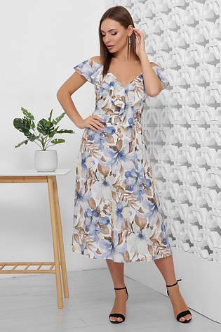 Платье летнее длинное с цветами на бретелях с поясом. Размеры 42-50. Платье летнее синее супер софт, фото 2