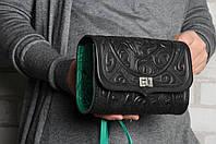 Кожаная сумочка трансформер, сумочка-клатч на плечо/на пояс,  черно-мятная сумочка, фото 1