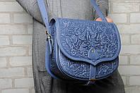 """Кожаная синяя сумка ручной работы """"В лесу"""", фото 1"""