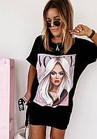 Женское летнее платье-футболка с рисунком в черном цвете,размеры С М Л ХЛ
