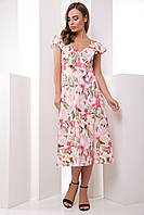 Платье летнее длинное с цветами на бретелях с поясом. Размеры 42-50. Платье летнее розовое супер софт