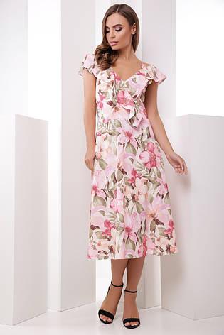 Платье летнее длинное с цветами на бретелях с поясом. Размеры 42-50. Платье летнее розовое супер софт, фото 2