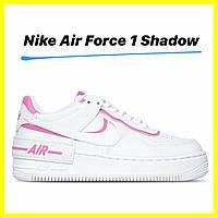 Кожаные женские кроссовки Nike air force 1 shadow magic flamingo pink топ качество, размер 36, 37, 38, 39, 40