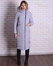 Зимняя длинная куртка - пуховик с капюшоном, 46-56р