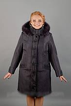 Жіноче плащевое пальто з хутром на 60й розмір