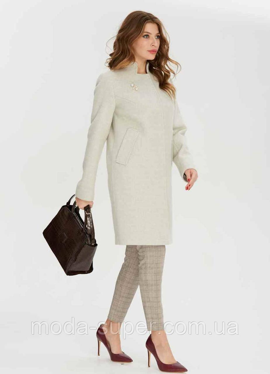 Женское пальто приталенное с украшением брошью  рр 38-48