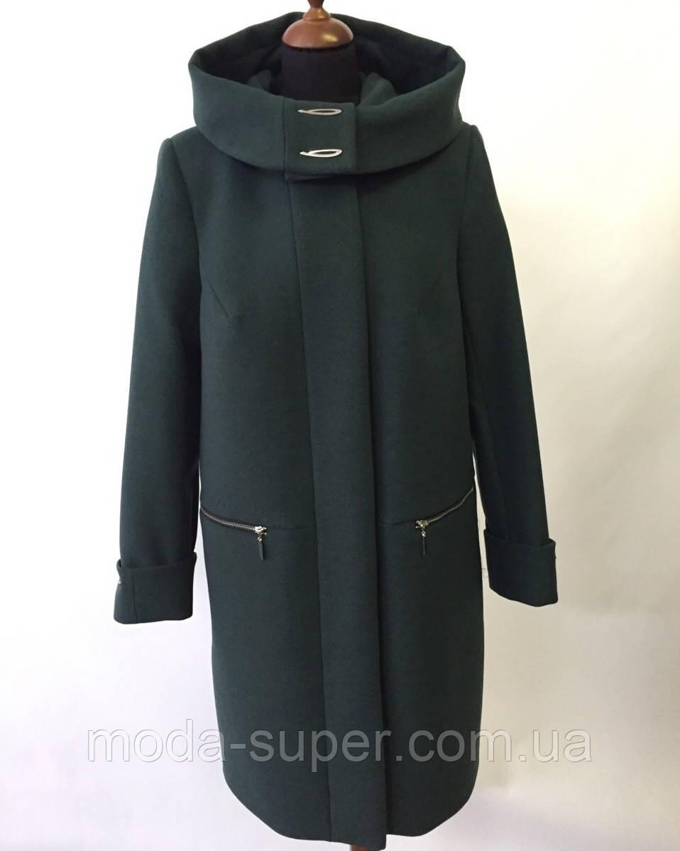 Женское пальто на молнии с капюшоном  большие размеры  рр 50-62