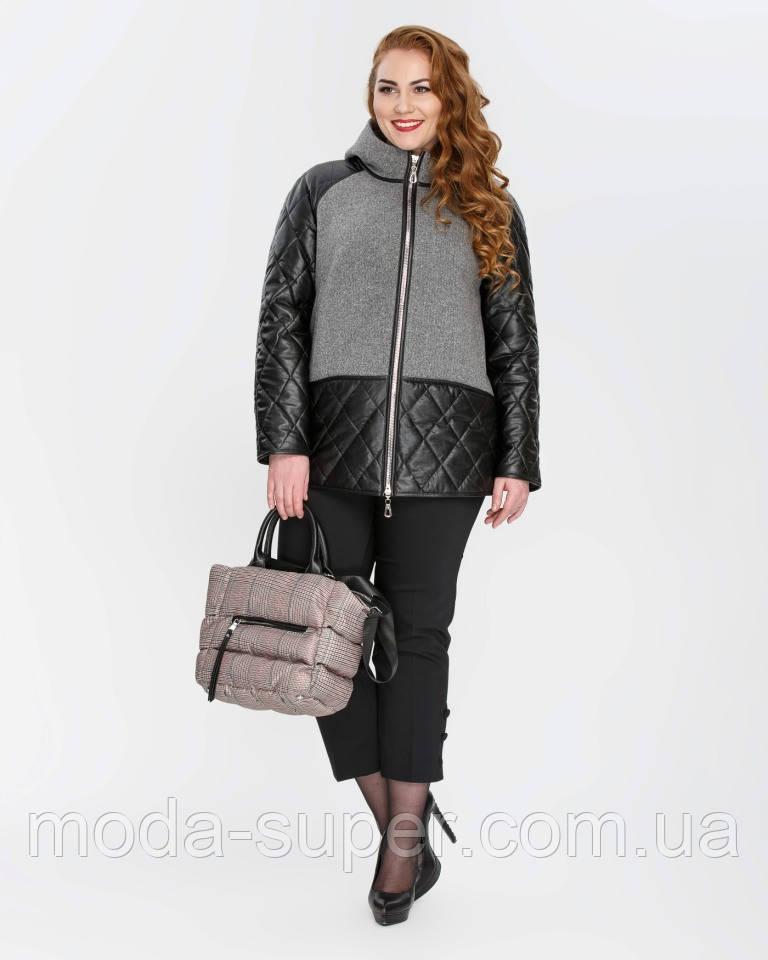 Куртка жіноча комбінована еко-шкіра+кашемір рр 46-56
