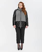 Куртка женская комбинированная эко-кожа+кашемир рр 46-56, фото 2