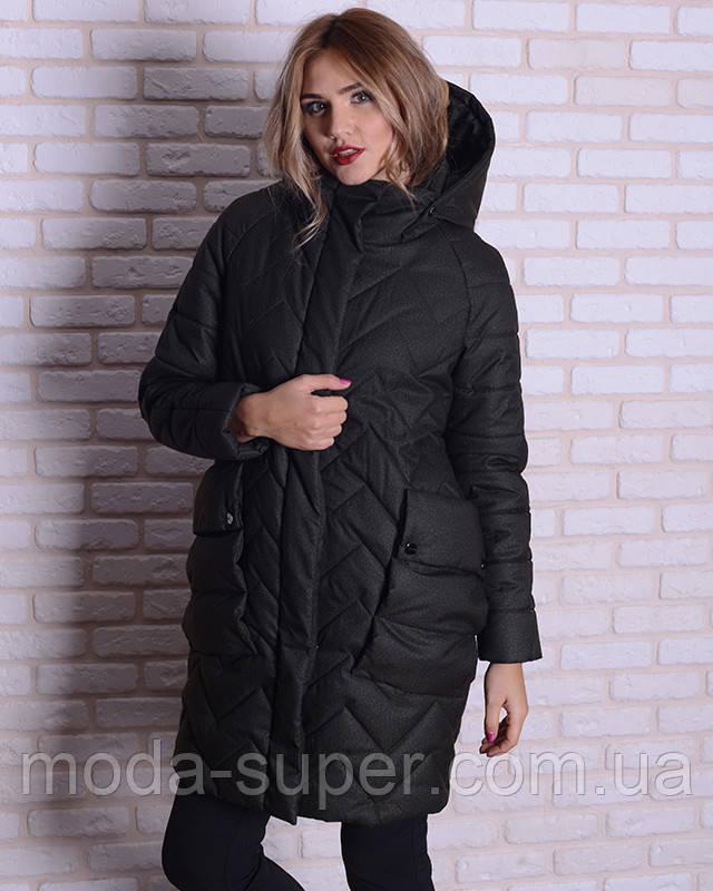 Женская зимняя куртка -кокон  44-52рр