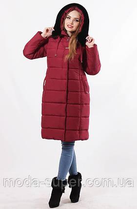 Женская зимняя удлиненная куртка цвет марсала, фото 2