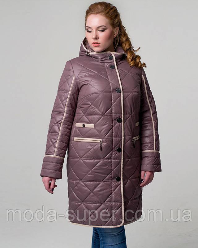 Женская стеганная куртка с капюшоном  рр 50-56