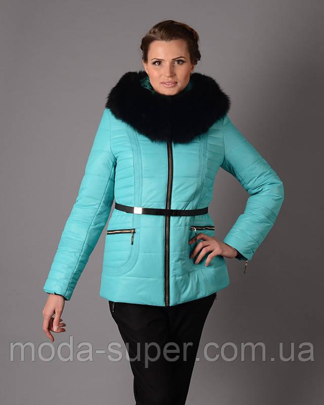 Женская зимняя куртка на холофайбере с меховой опушкой