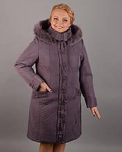 Женское плащевое пальто с мехом песца,рр 50-60