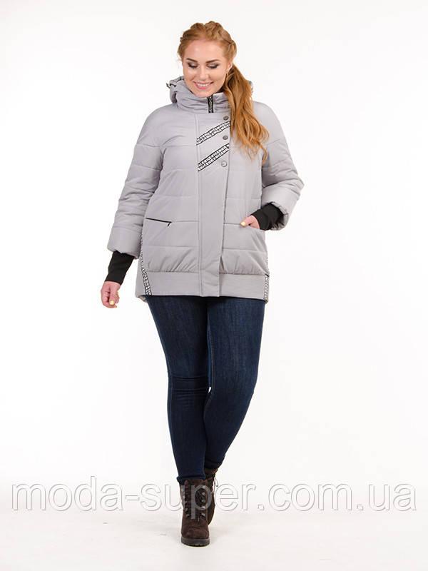 Жіноча куртка з матовою плащової тканини з трикотажним довязом на рукавах рр 44-52