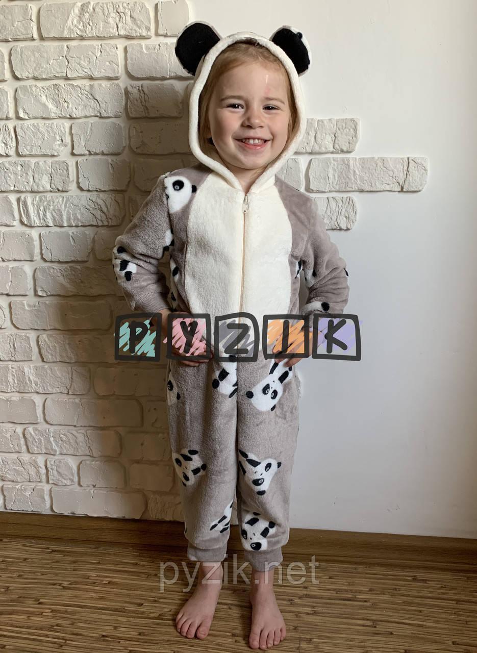 "Комбинезон кигуруми ""Панда"" с капюшоном и ушками (махра), 26, 28, 30 и 32 размеры (1-5 лет)"
