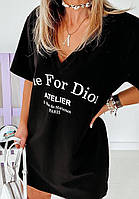 Платье футболка с модным принтом, черное, белое