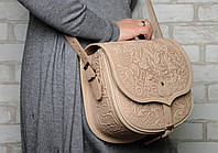 Кожаная женская сумка, бежевая сумка Ягдташ через плечо, фото 1