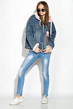 Женская молодежная джинсовая куртка с мехом   рр L  XL