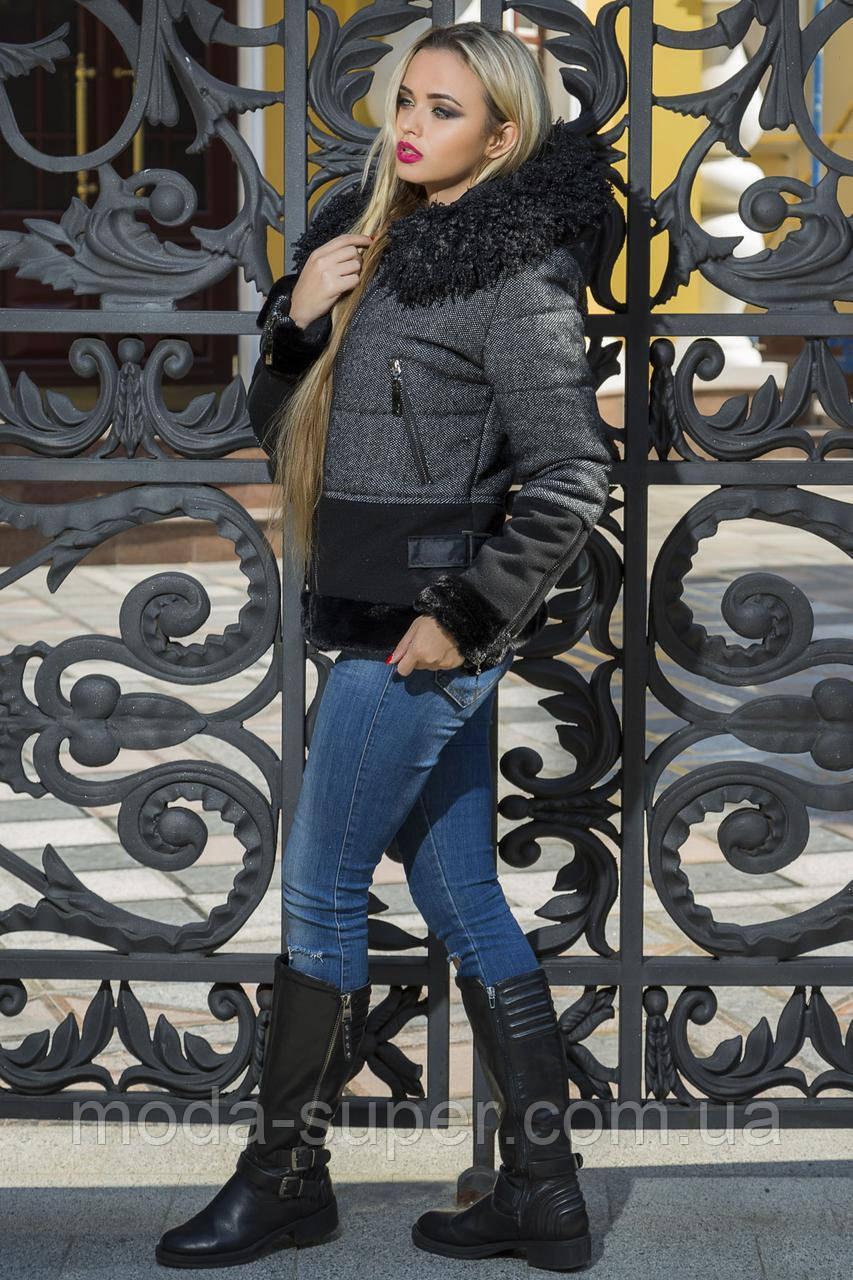 Зимняя женская куртка с меховыми вставками рр 42-48