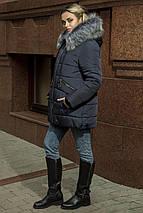 Зимняя женская куртка-пуховик с эко-мехом чернобурки  рр 44-54, фото 2