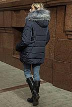 Зимняя женская куртка-пуховик с эко-мехом чернобурки  рр 44-54, фото 3