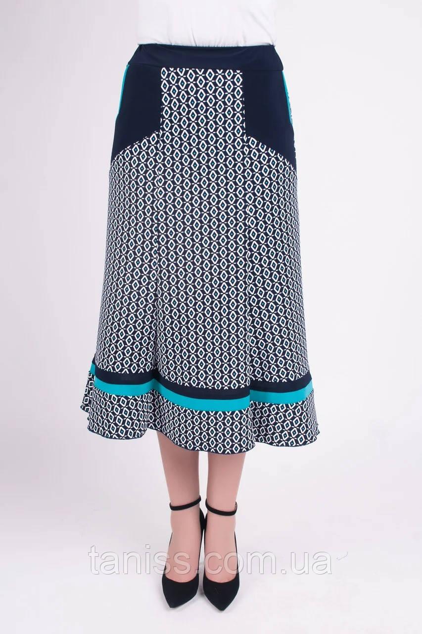 """Жіноча літнє спідниця """"Розана"""" ,тканина трикотаж,розміри 48,50,52,54 бірюза смужка.спідниця"""