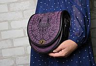 """Женская кожаная сумка ручной работы полукруглая """"Калина"""", фиолетово-чёрная, фото 1"""