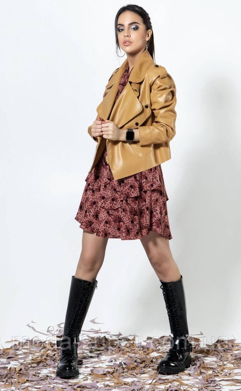 Женская куртка-косухастильная молодежная  из эко-кожи рр S  M  L