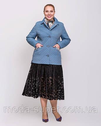 Женская куртка-пиджак с шарфом цвет джинс  рр 48-60, фото 2