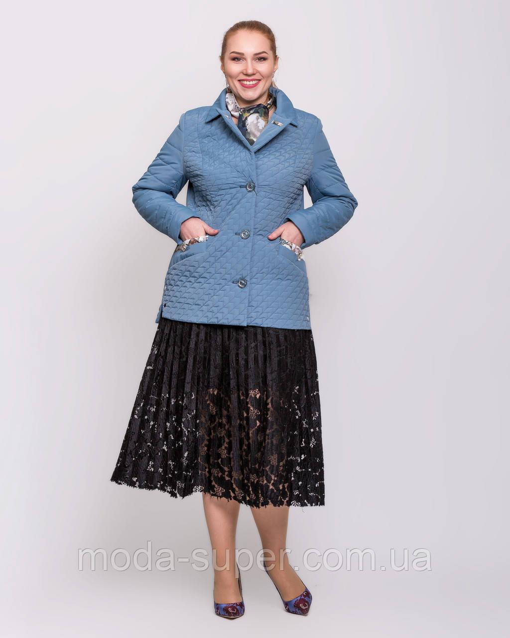 Женская куртка-пиджак с шарфом цвет джинс  рр 48-60