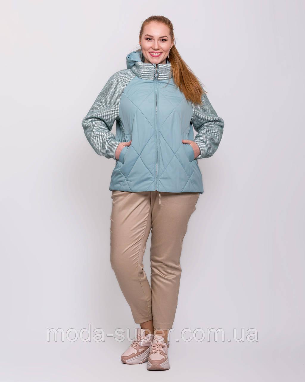 Женская куртка комбинированная   рр 48-58