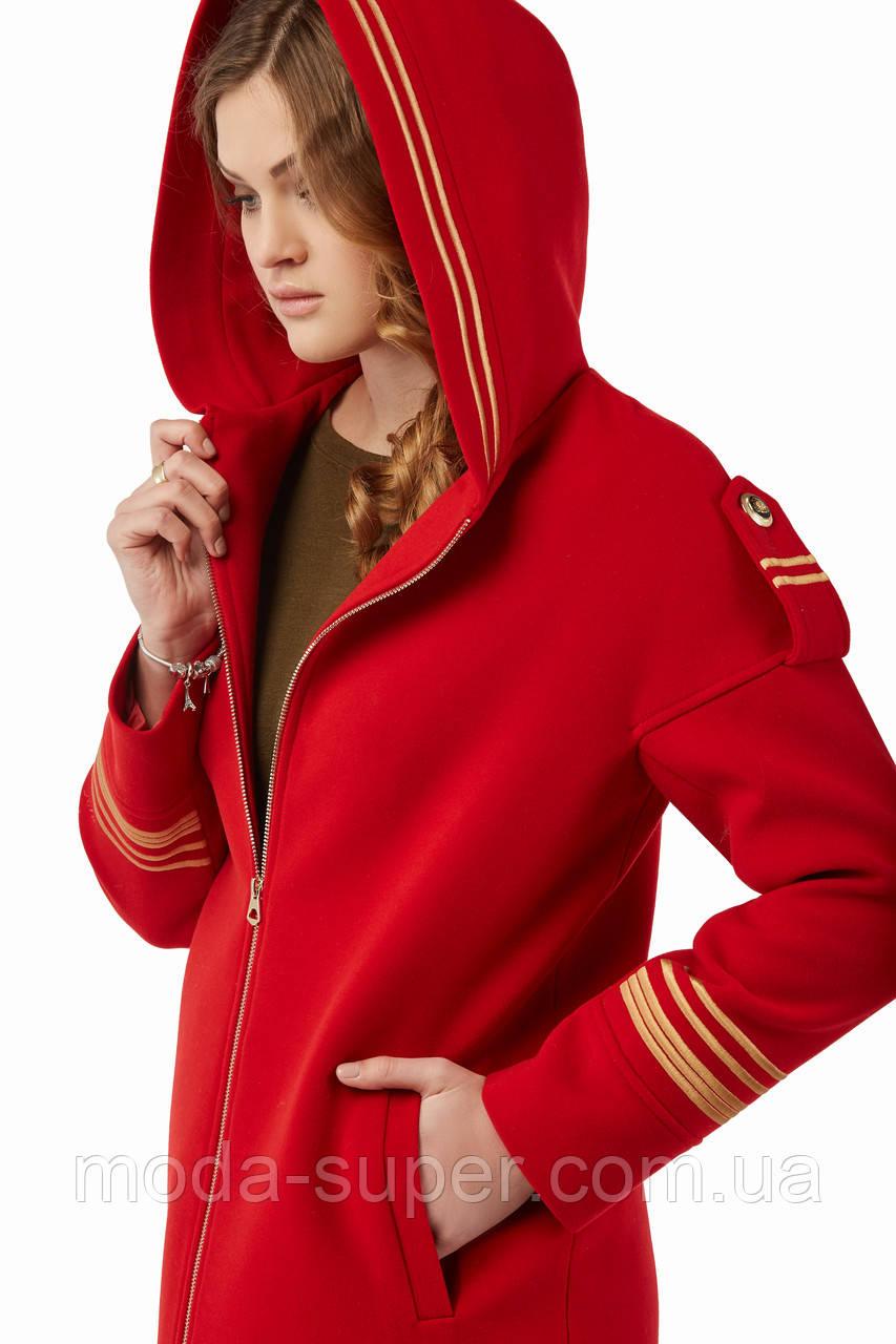 Женское пальто на молнии и с капюшоном рр 46-52