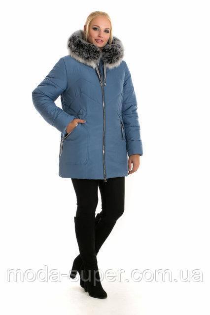Стильна жіноча зимова куртка з хутром песця рр 48-60