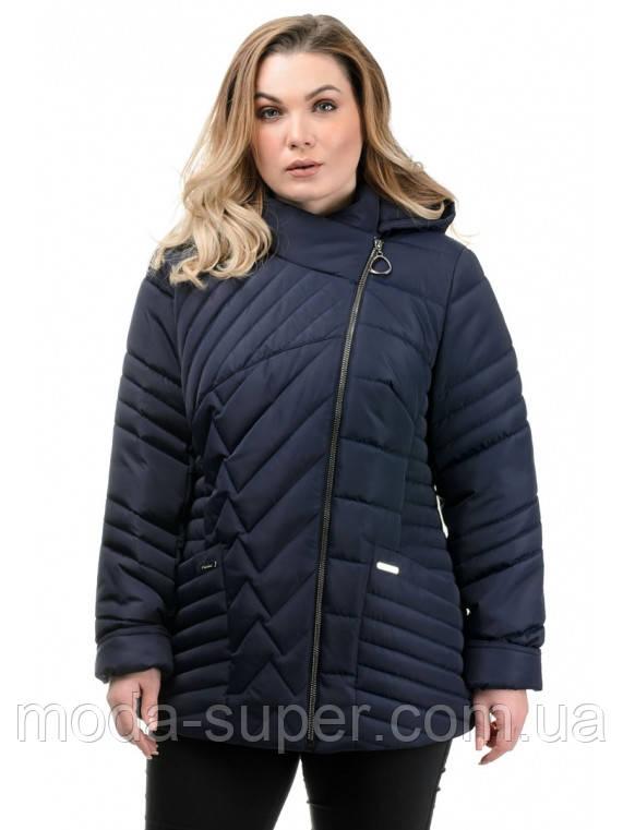 Женская куртка полуприталенного силуэта синего цвета рр 50-56