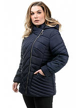 Женская куртка полуприталенного силуэта синего цвета рр 50-56, фото 2
