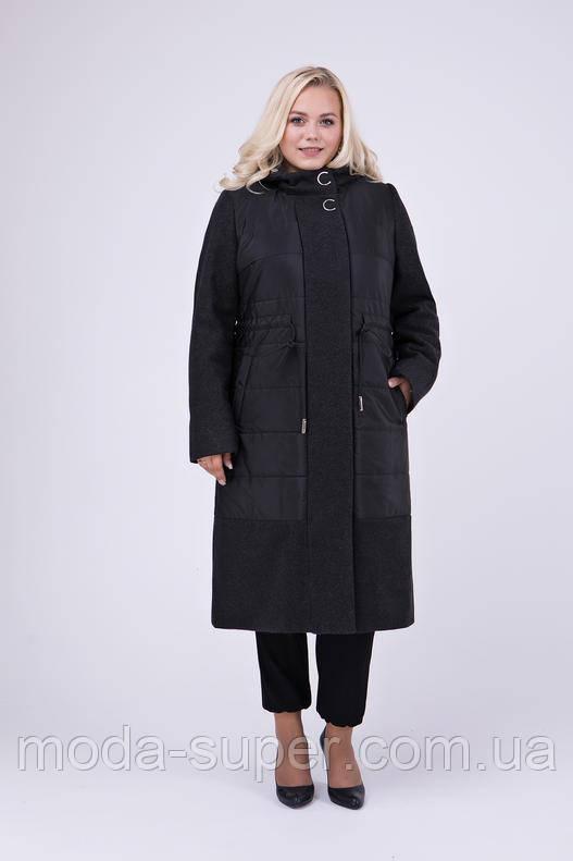 Стильное комбинированное пальто из пальтовой и плащевой ткани рр 52