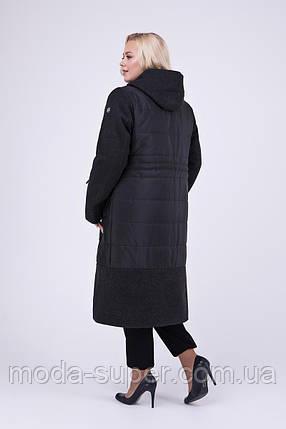 Стильное комбинированное пальто из пальтовой и плащевой ткани рр 52, фото 2