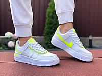 Женские кроссовки Nike Air Force 1 Shadow (бело-салатовые) 9471