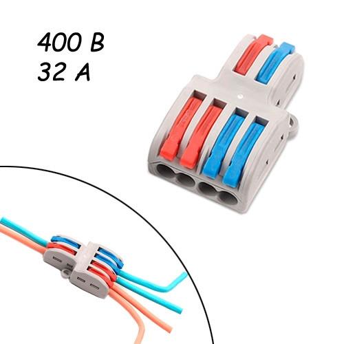 Параллельный разветвитель сплиттер проводов 4 выхода 400В 32А 4мм2 SPL-42
