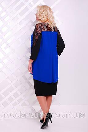 Красивое женское платье из  шифона и гипюра,  размера 50 - 58, фото 2