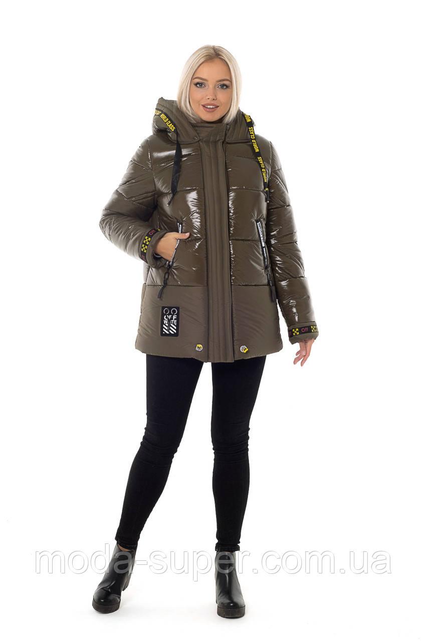 Жіноча зимова куртка з лакової плащової тканини рр 46-56